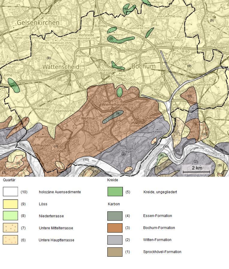 Geologische Karte Ruhrgebiet.Geologie Digital Geologie Des Stadtgebietes Von Bochum