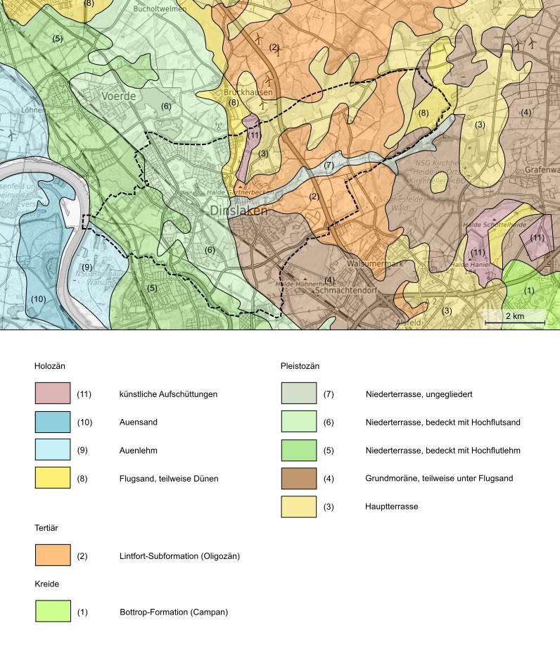 Geologische Karte Ruhrgebiet.Geologie Digital Geologie Des Stadtgebietes Von Dinslaken