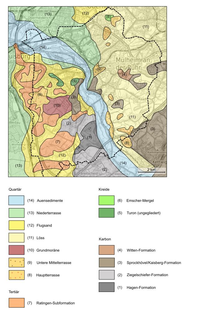 Geologische Karte Ruhrgebiet.Geologie Digital Geologie Des Stadtgebietes Von Mulheim